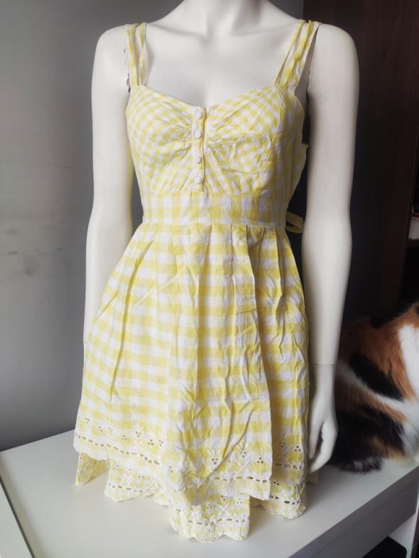 Biało żółta sukienka 38