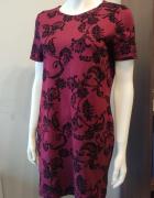 Bordowa sukienka ornamenty L