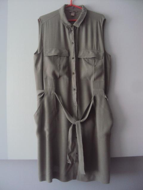 rozpinana sukienka khaki...