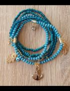 Nowa bransoletka bransoletki zestaw komplet charms niebieskie turkusowe