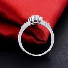 Nowy pierścionek srebrny kolor kwiat kwiatek cyrkonie białe