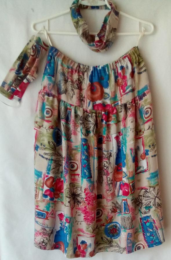 Spódnice Spódnica w kwiaty z maseczką i opaską na głowę w komplecie