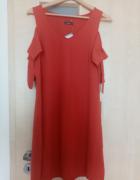 koralowa sukienka...