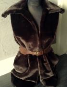 Handmade narzutka futerko kamizelka futro sztuczne brąz brązowa...