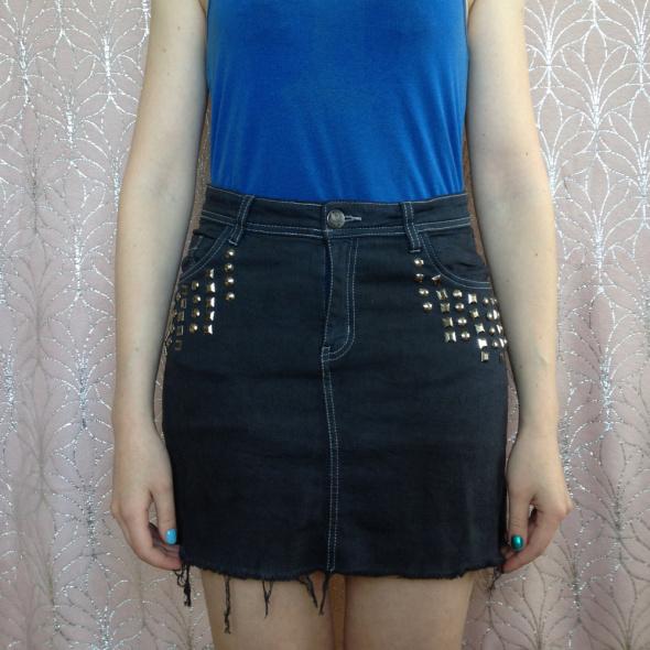 Spódnice Mini jeansowa czarna grafitowa handmade diy ćwieki koraliki XS S 34 36