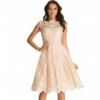 Tiulowa Pudrowa Sukienka Złote Dodatki 36