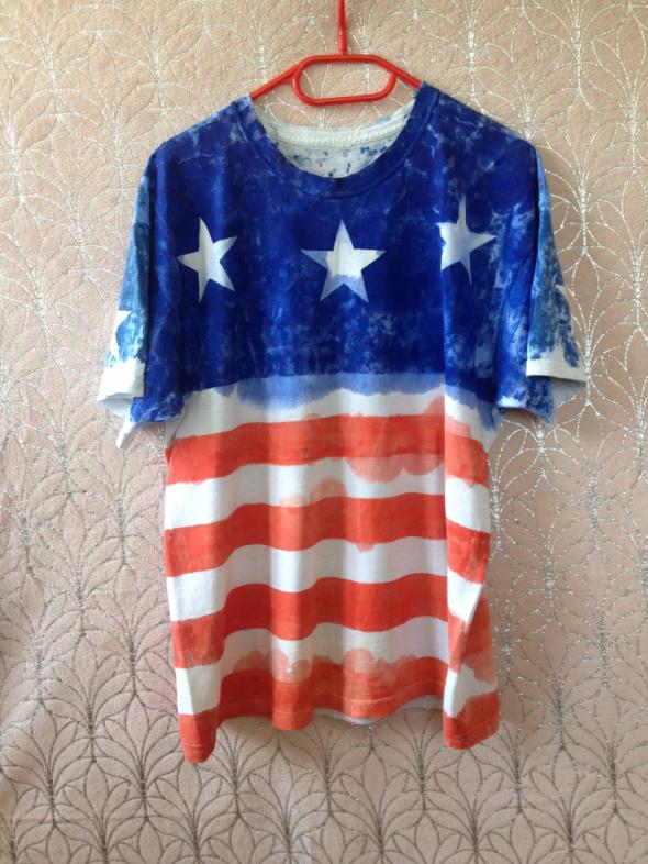 Koszulka tshirt flaga amerykańska oversize XS S M L XL 34 36 38 40 42 HANDMADE DIY