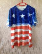 Koszulka tshirt flaga amerykańska oversize XS S M L XL 34 36 38...