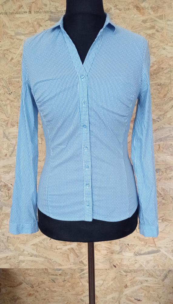 Niebieska elegancka koszula w paski i kropki Orsay 38
