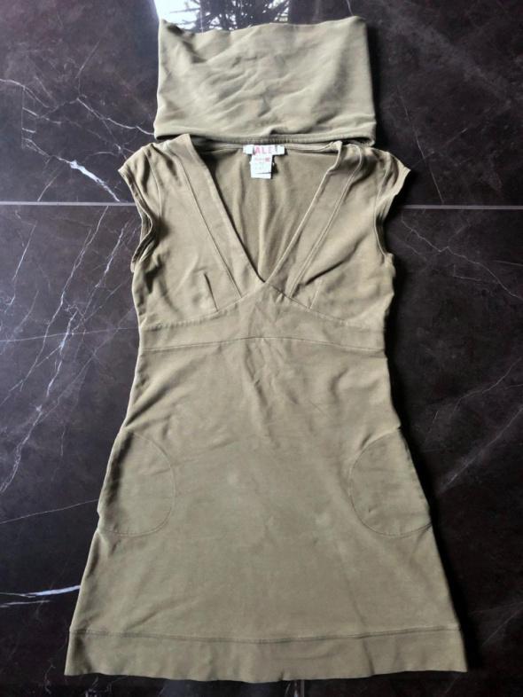 ATTRATTIVO sukienka khaki bez rękawów z golfem rozm S 36 stan BDB