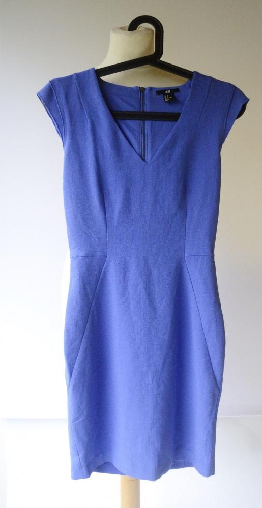 Sukienka Kobaltowa H&M 34 Ołówkowa Do Pracy
