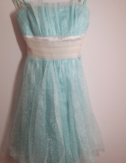 błękitna wieczorowa wizytowa sukienka 36