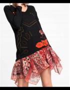 Sukienka w stylu boho łączone materiały haft koronka...