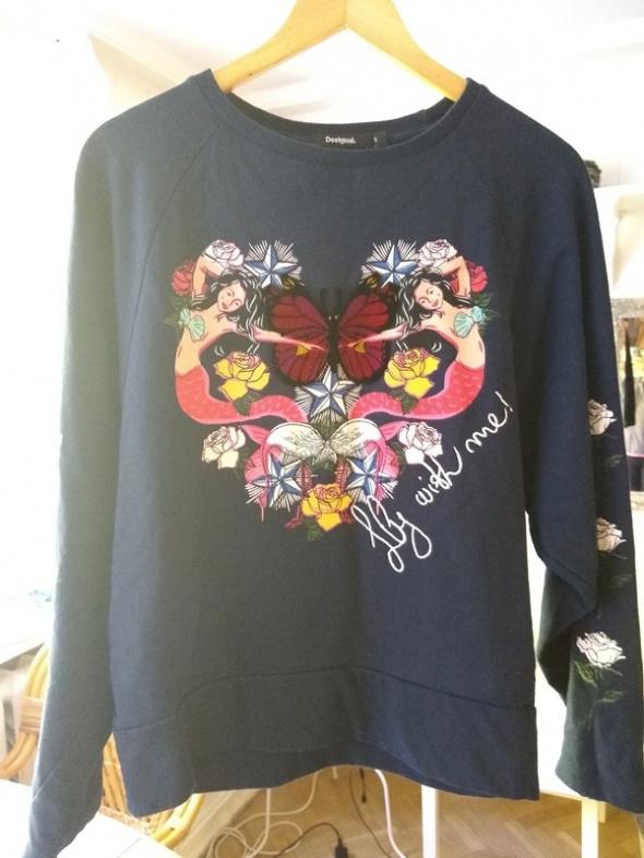 Bluza Desigual retro syrenki marynarski motyw róża róże motyl