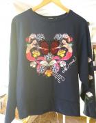 Bluza Desigual retro syrenki marynarski motyw róża róże motyl...