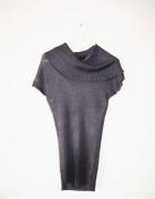 Szary sweter z krótkim rękawem tunika luźny dekolt...