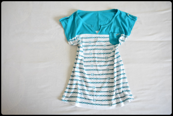 Biało turkusowa bluzka damska 40 L