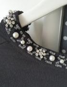 Elegancka bluzka czarna z ozdobą przy szyi h&m