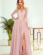 AMBER elegancka koronkowa długa suknia z dekoltem PUDROWY RÓŻ...
