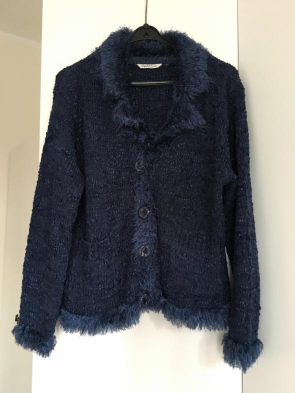 Granatowy sweter rozpinany S M