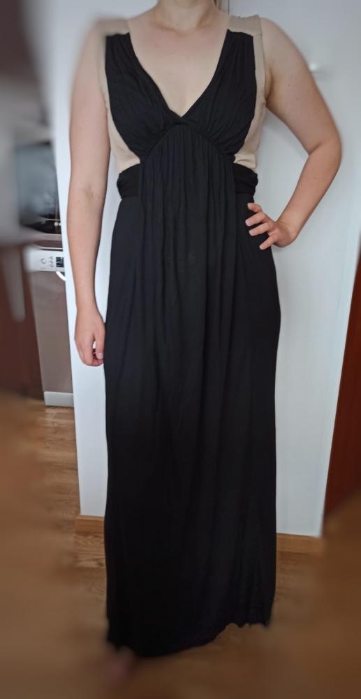 Sukienka czarna maxi beżowe ramiączka wiązanie w pasie french collection S