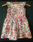 Sukienka w kwiatki bawełniana 98 104...