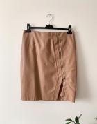 Mohito spódnica karmelowa z eko skóry zip L...