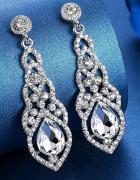Eleganckie kryształowe kolczyki ślub wesele srebrne