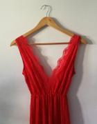 czerwona długa sukienka maxi dekolt v rybka koronkowa...