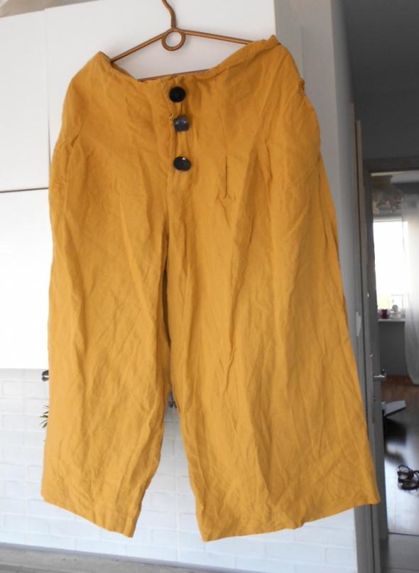 Zara musztardowe spodnie culotte guziki retro...