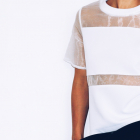 Nienoszona biała bluzka z wstawkami z przezroczystego materiału