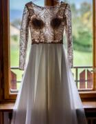 Lekka i zwiewna suknia ślubna szyta na miarę rozmiar S beż ivory
