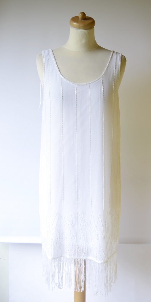 Sukienka Biała H&M Frędzle M 38 Koraliki Frędzelki Boho...
