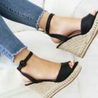 Sandały espadryle na koturnie zdobione czarne 40