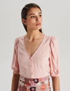 Nowa bluzka Cropp M 38 wiskoza crop top koszula jasny róż pudro...