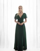 Śliczna długa sukienka różowa zielona chabrowa S M...