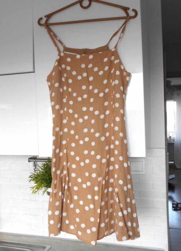 Mango nowa sukienka beżowa kropki pretty woman