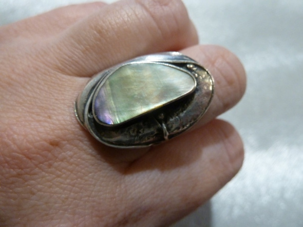 srebrny z muszlą abalone