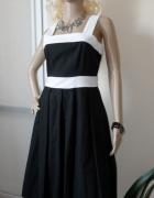 Lniana czarno biała sukienka...