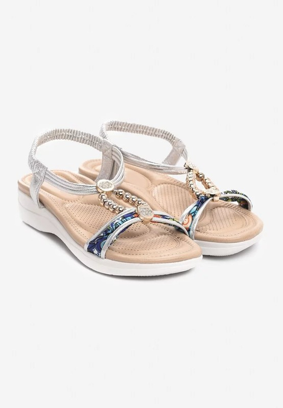 Sandały Srebrne sandałki 39