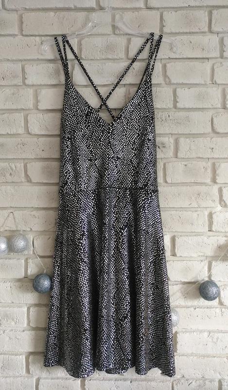 Srebrno czarna sukienka na ramiączkach 44 46