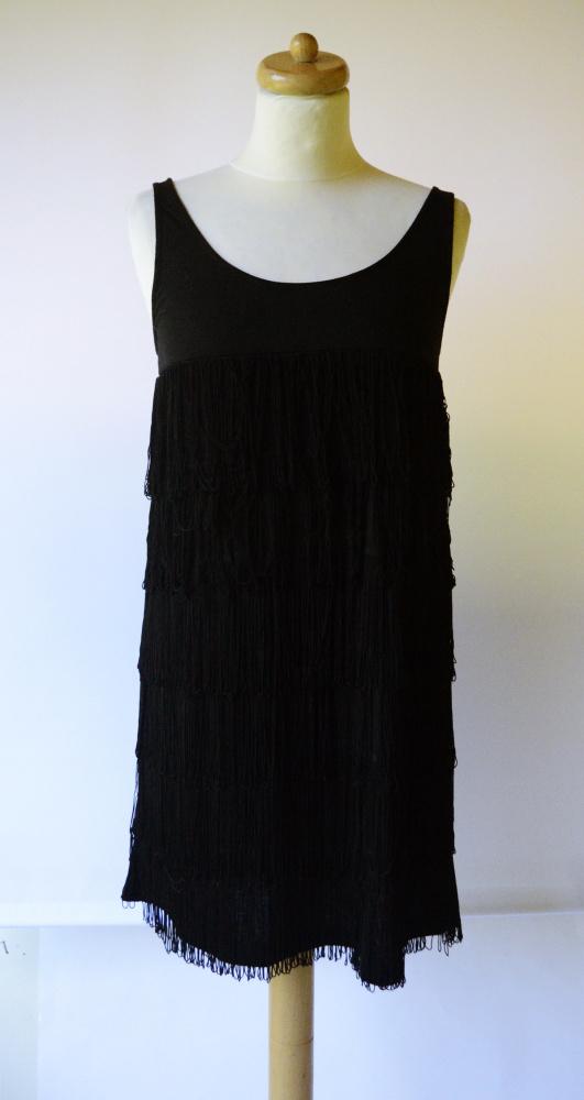 Sukienka Czarna L 40 Cubus Frędzle Frędzelki Wizytowa