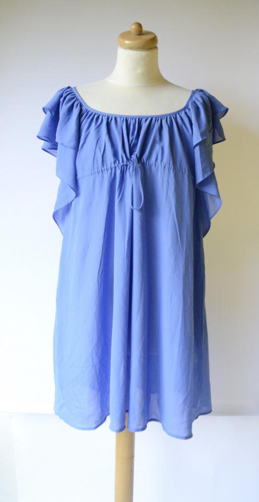 Sukienka Niebieska H&M Garden S 36 Falbanki...