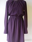 Sukienka H&M L 40 Fioletowa Wizytowa Elegancka Do Pracy...