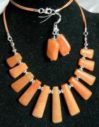 Awenturyn pomarańczowy kolia i kolczyki srebro...