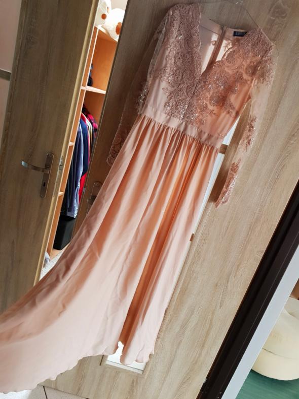 Długa suknia złoto kremowa Emo rozmiar M raz założona