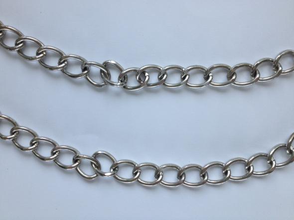 Handmade łańcuch do spodni podwójny naszyjnik DIY posrebrzany