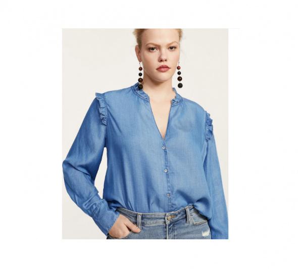 Nowa koszula Mango plus size 44 XXL bluzka lyocell dekolt jeans denim dżins niebieski