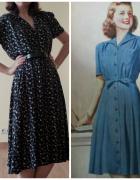 sukienka vintage lata 40 reprodukcja...