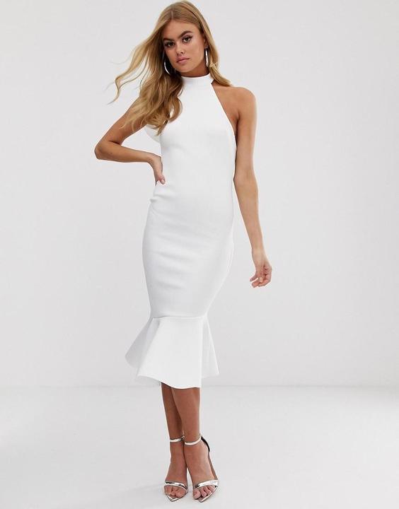 Biała sukienka z falbaną z tyłu z chokerem rozmiar SM